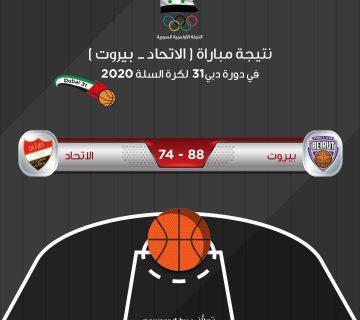 نتيجة مباراة الاتحاد لكرة السلة